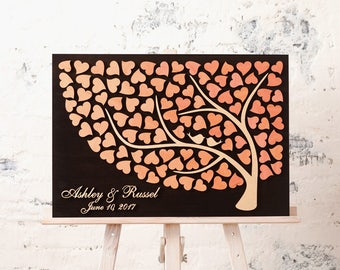 Personalized wedding guest book alternative guestbook Wedding Tree Guest book Wedding Signature CUSTOM Wedding Guest book PEACH WEDDING
