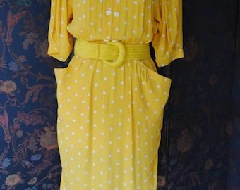 White polka dots 1980 yellow cotton dress