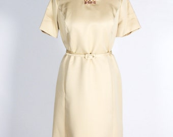 1960s Champagne Split Collar Boho Holiday Shift Dress/Size Lg/XL