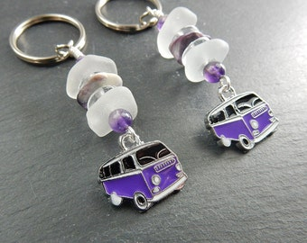 Frosty Sea Glass Purple Surfer Van Key Chain with Amethyst Beads, Glass Beads, and Wampum Bead- Real Seaglass, Sea Stacker Keyring, Keychain