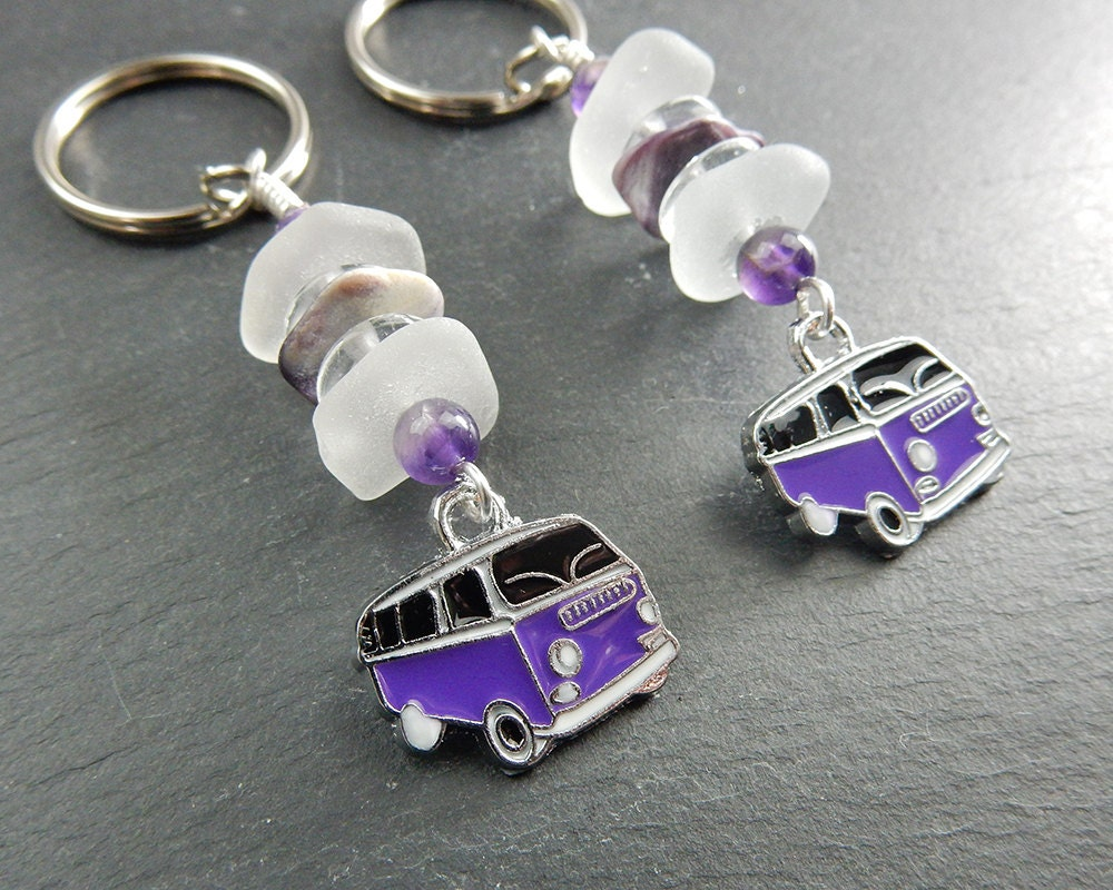 Keychains Circuit Board Glass Pendant Photo Necklace Keychain Frosty Sea Purple Surfer Van Key Chain With Amethyst Beads And