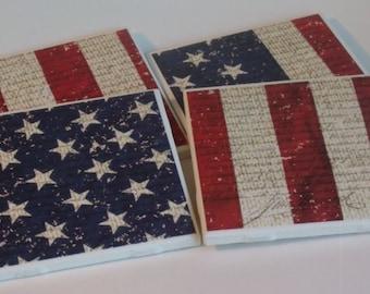 American Flag Coaster Set - Patriotic Coaster Set - Drink Coasters - Gift Idea