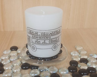 London double decker bus scented candle/iconic London transport/tourist souvenir/British culture/great gift