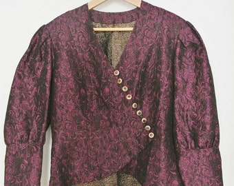 Fabulous 1980s Purple Magenta Vintage Handmade Ladies Blazer Jacket Bolero EU 38-40