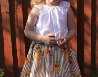 WINNIE Handmade Skirt in winnie-the-pooh fabric