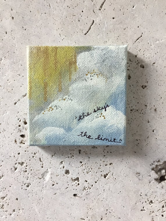 The sky's the limit painting, mini painting, mixed media painting, acrylic, kids room decor