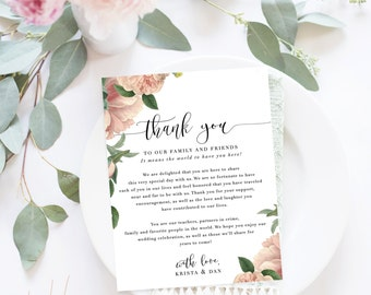Wedding Thank You Letter / Wedding Thank You Note, Printable Thank You, Wedding Thank You - Emily Botanical Suite