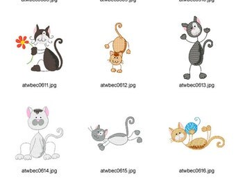 Sticky-Cat. ( 11 Machine Embroidery Designs from ATW )