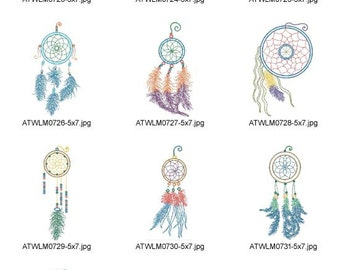 Neon-Dream-Catchers ( 10 Machine Embroidery Designs from ATW ) XYZ17B