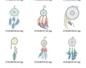 Neon-Dream-Catchers ( 10 Machine Embroidery Designs from ATW ) XYZ17B