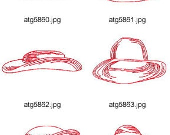 Redwork-Hats ( 10 Machine Embroidery Designs from ATW ) XYZ17E