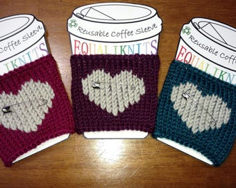 Reusable Safe Place Heart Knit Beverage Sleeve