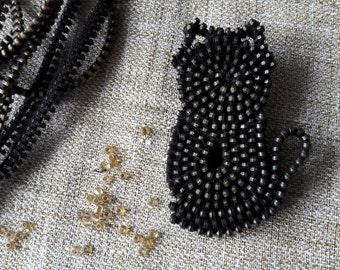 Black cat brooch Сat Brooch Cat jewelry Zipper jewelry Decorative brooches Unusual brooch Bag brooch Cat metal brooches
