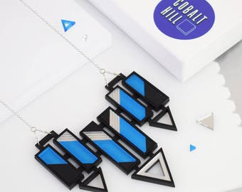 Arrow Bar Statement Necklace- Large in Blue and Silver,lasercut jewellery,etched,perspex jewellery,acrylic necklace,art deco, geometric