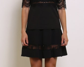 Top sleeves short lace, transparent back yoke