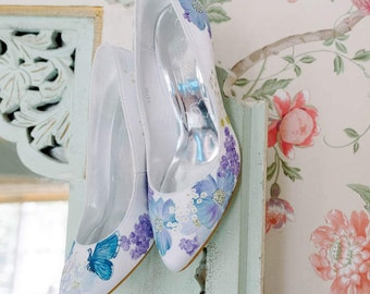 Hand-painted wildflower butterfly custom wedding shoes