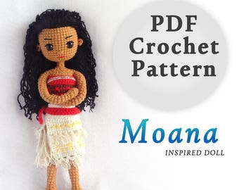 Moana Princess Inspired Crochet Doll Pattern | PDF Crochet Pattern | Instant Download