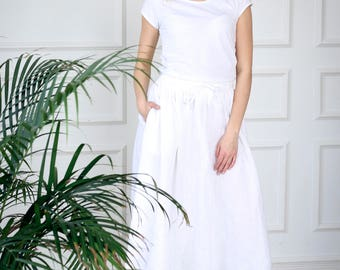Linen midi skirt, white drawstring midi linen skirt, linen a line skirt