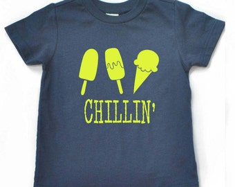 Ice cream short, ice cream outfit, popsicle outfit, popsicle shirt, chillin shirt for kids, LIME green design, summer shirt for boys