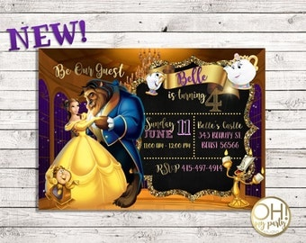 Beauty and the beast birthday invitations, beauty and the beast invitations, princess beauty, princess belle invitations, princess belle
