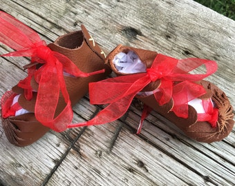 Red Ribbon Baby Shoes