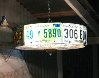 Electric Chandelier Swag Light Indoor/Outdoor - Recycled Car Tags and Bicycle Rims