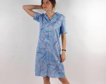 Blue Dress Summer Dress Vintage Midi Dress 70' Abstract Print Dress Hippie Festival Dress A Line Shift Dress for Grandma Medium Size