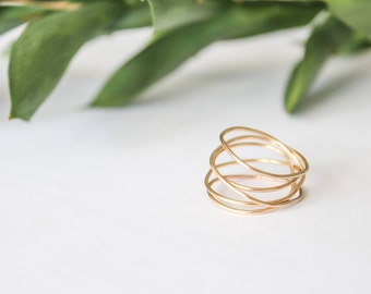 Gold Wrap Ring, Gold Wrapped Ring, Gold Coil Ring, Stacking Ring, Gold Stackable Ring, Gold Ring, Minimalist Gold Ring