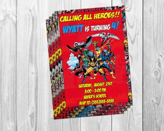 MARVEL X-MEN BIRTHDAY Party Invitations, Xmen, Avengers, Super Heroes, digital downloadable