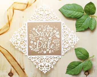 Wedding invitation - SVG, DXF, ai, CRD, eps - Card Templates - Laser Cut - Silhouette Cameo - Cricut- Instant Download 032