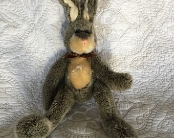 Vintage Russ & Berrie Stuffed Bunny Rabbit Hamilton Plush - Flexible Ears - Grey fur frosted tips