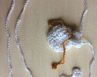 Lacy Drawstring Pouch Necklace, White