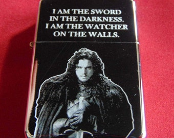 Game of Thrones Jon Snow Engraved Fuel STAR Lighter With Gift Box - FREE ENGRAVING