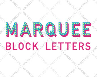Marquee Block Letters Font Clip Art for Scrapbooking, Cricut, and Vinly Projects. Digital Download