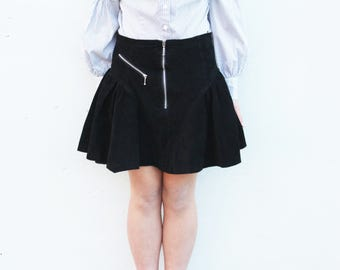 Geniune Leather Suede Black Skirt