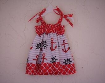 Baby Girls Summer Dress, Baby Girl Nautical Dress, Girls Spring Dress