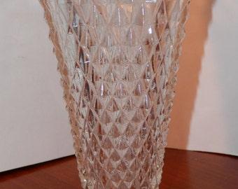 Pressed Glass Diamond Cut Crystal Vase  Saw Tooth