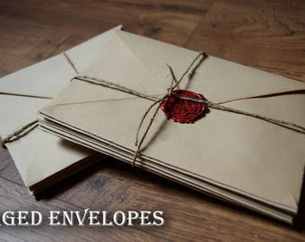 Aged paper envelopes, distressed envelopes for wedding invitations, parchment envelope with sealing wax stamp, blank and stamped, handmade.