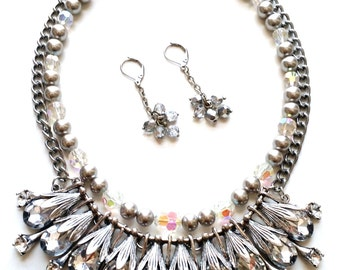 Silver metal crystal glass and vintage pearls earring and necklace set
