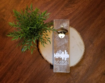 Rustic Boston Skyline Bottle Opener
