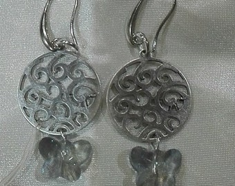swarovski butterfly earrings handcrafted, made in italy
