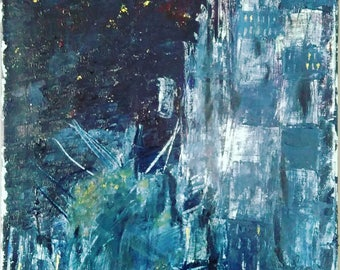 Original Oil Painting Abstract Cityscape