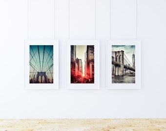 New York City Brooklyn Bridge Photographs, Set of 3, Brooklyn Bridge, New York City Photography Wall Decor, NYC Wall Photographs, Wall Decor