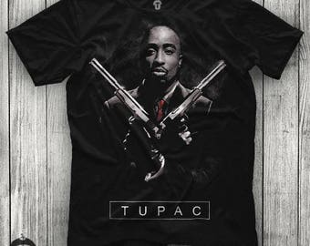 Tupac Shakur Hitman Design Unisex Black T Shirt Graphic Tee Tupac Men Shirt 2Pac Girl Shirt Size S M L XL 2XL