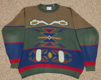 Vintage Gant Salty Dog Aztec Color Block Sweater size XL