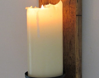 Large 60cm reclaimed plank wood wall sconce candle holder