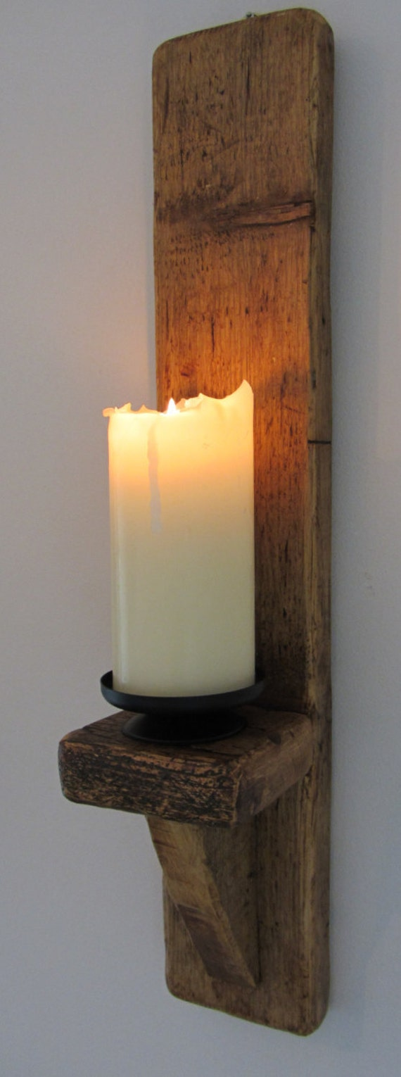 large 60cm reclaimed plank wood wall sconce candle holder. Black Bedroom Furniture Sets. Home Design Ideas