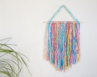 Yarn Wall Hanging Nursery Wall Hanging Nursery Decor Baby Girl Nursery Nursery Wall Art Yarn Art Turquoise Blue Aqua Blue Wall Decor