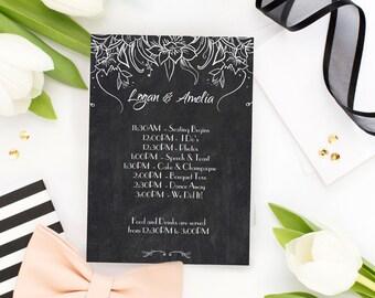 TEMPLATE PRINTABLE Wedding Program. Pdf Editable Printable Rustic Wedding Program. TEMPLATE Chalkboard Floral Editable Agenda -Pdf Editable