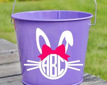 Easter Bucket Monogram Decal - Easter Pail Monogram Decal - Girly Easter Bunny Decal - Easter Basket Decal - Easter Bunny Bow Decal